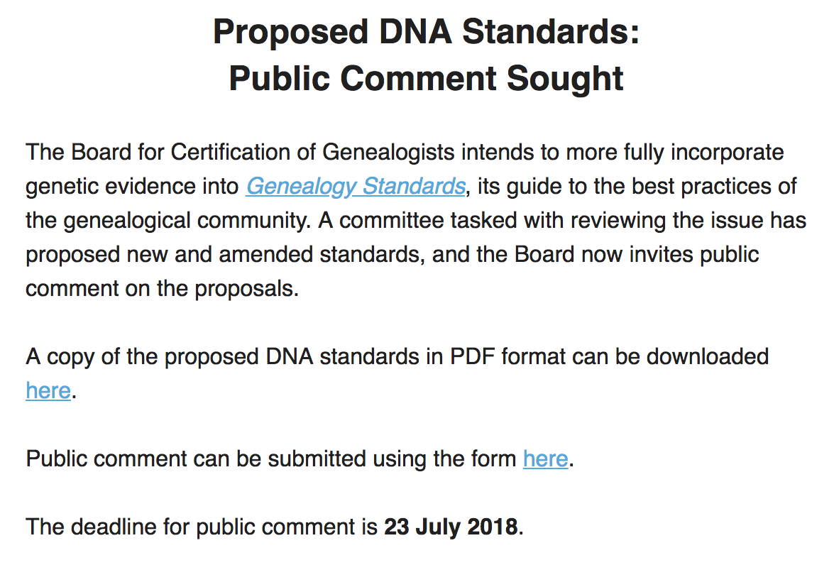 board for certification of genealogists comments sought for